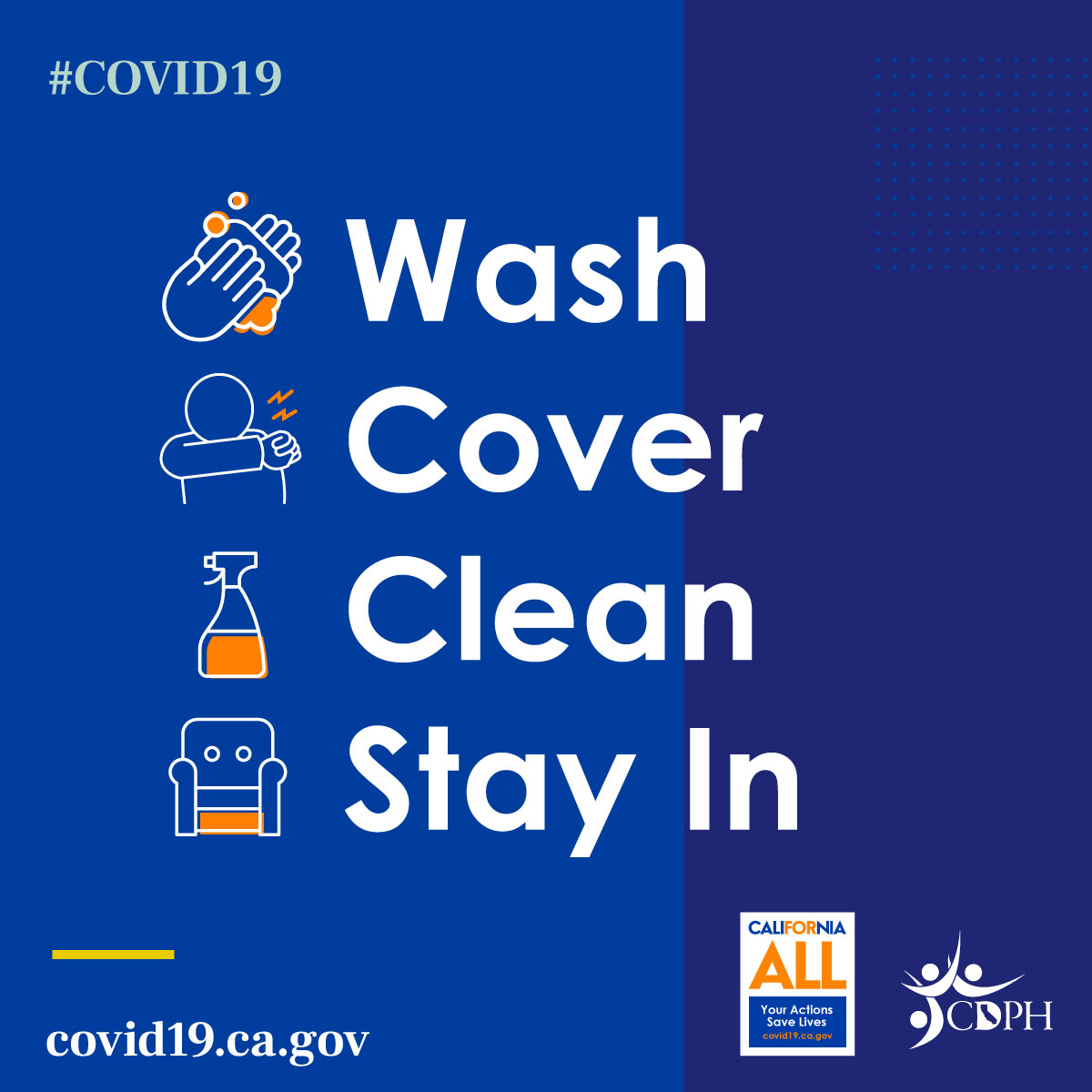 Social Graphic: Wash, Cover, Clean, Stay In