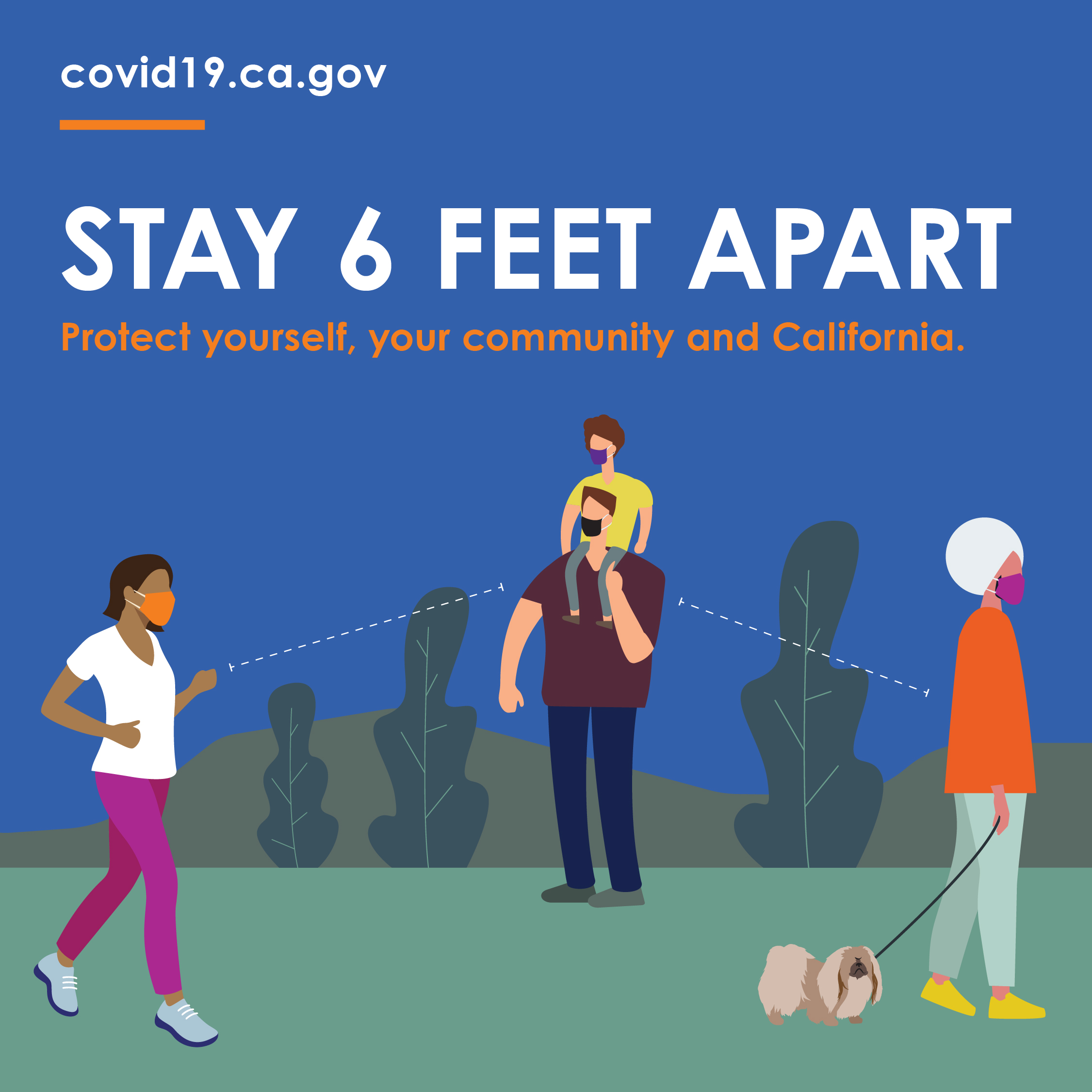 Stay 6 feet apart. Protect yourself, your community and California.