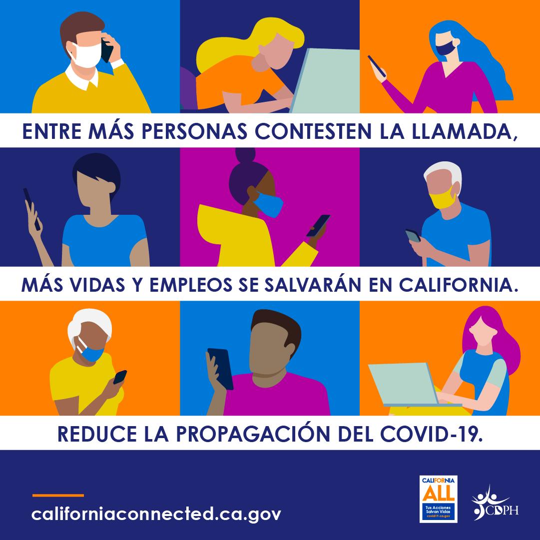 Entre mas personas contesten la llamada. Mas vidas y empleos de salvaran en California. Reduce la propogacion del covid-19.