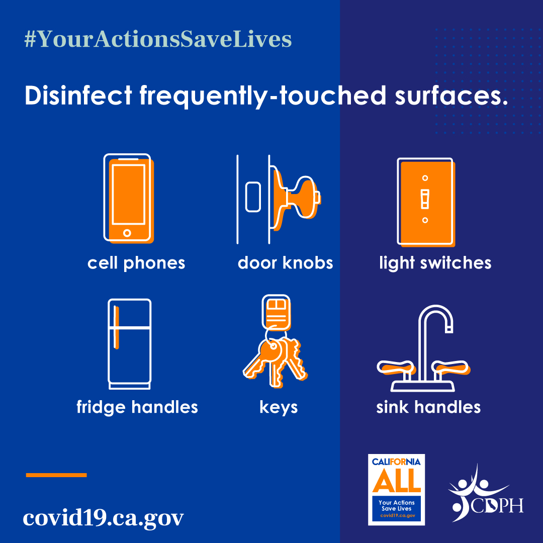 #YourActionsSaveLives. Disinfect frequently-touched surfaces.