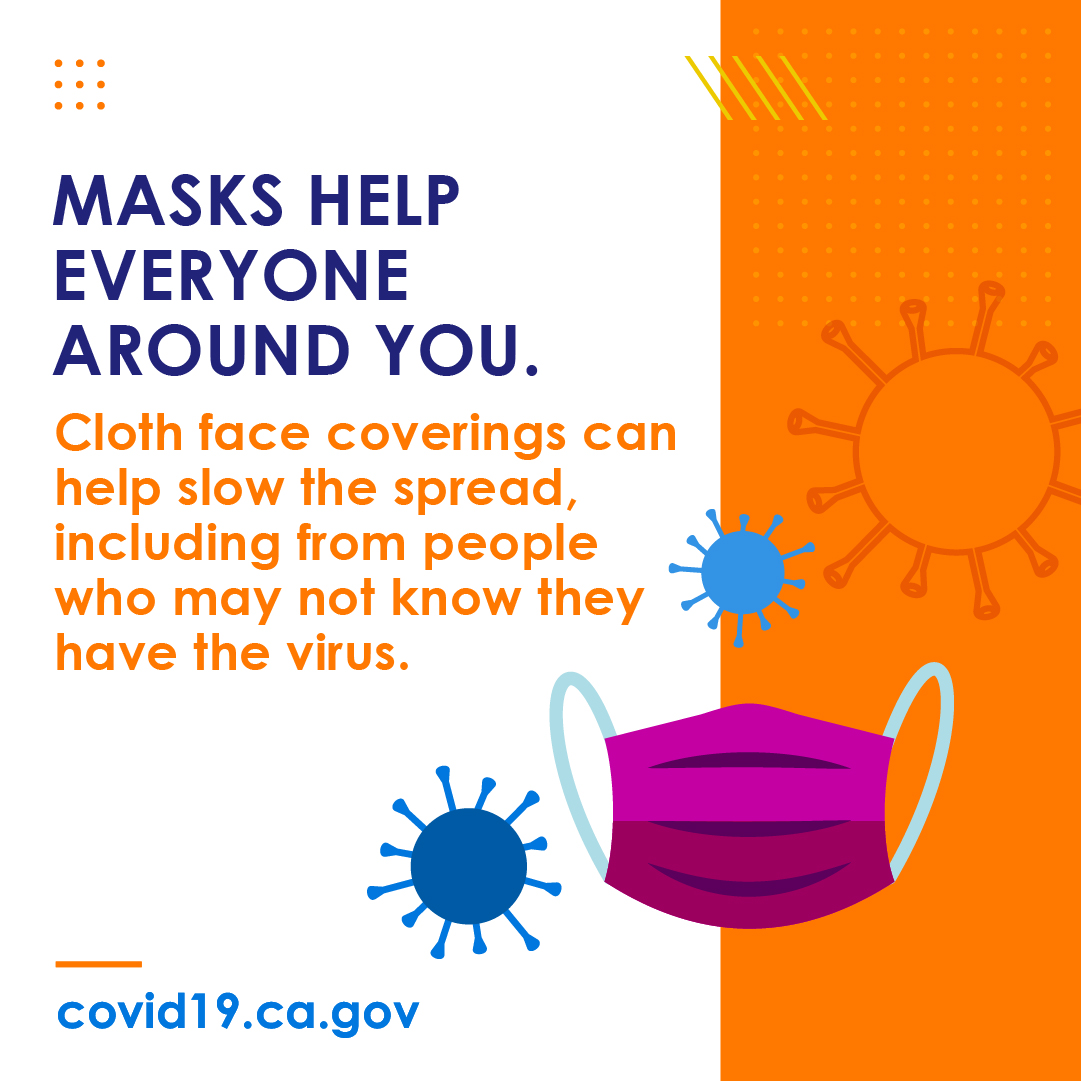 Masks help everyone around you. Cloth face coverings can help slow the spread, including from people who many not know they have the virus.