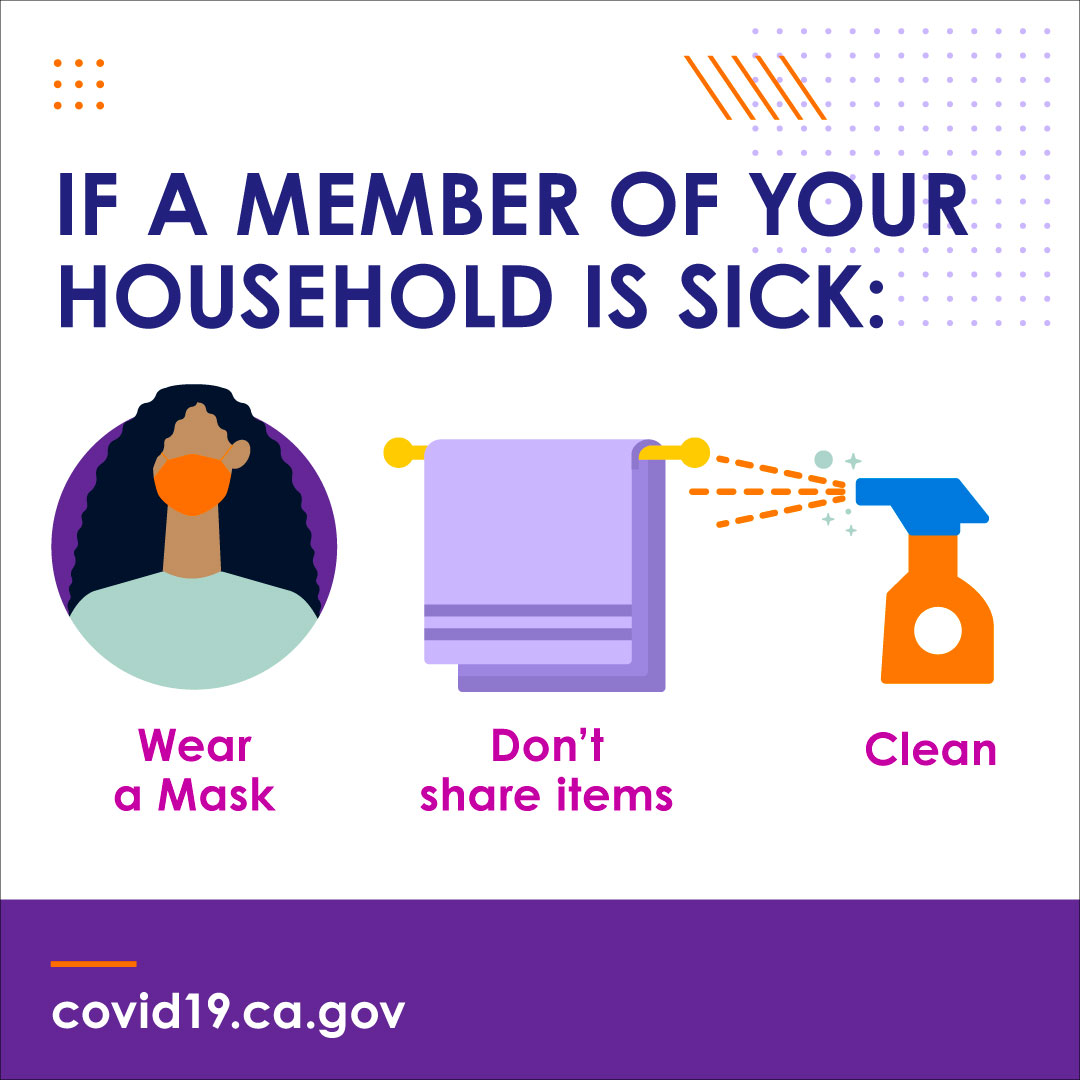 If a member of your household is sick. Wear a mask. Don't share items. Clean.